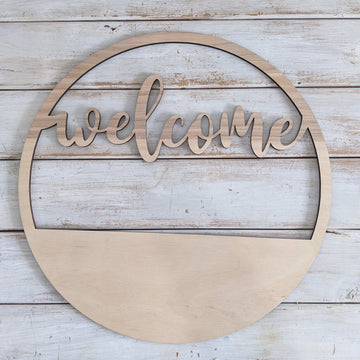 14 inch Welcome Wreath _sola_wood_flowers