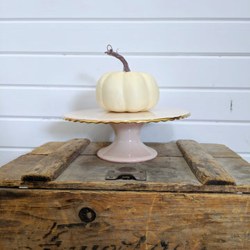 5 inch Cream pumpkin - faux _sola_wood_flowers