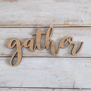 8 inch Gather Phrase Wood Cutout _sola_wood_flowers