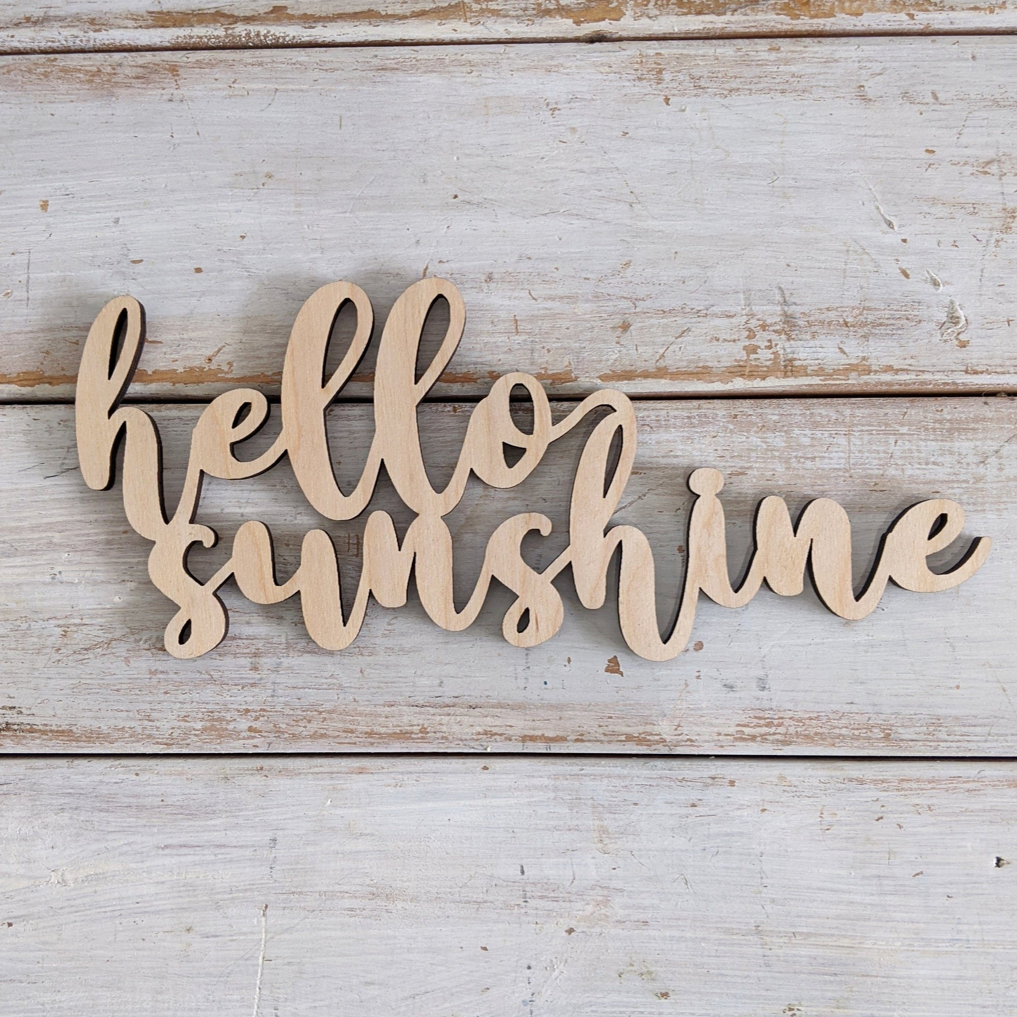 8 inch Hello Sunshine Phrase Wood Cutout _sola_wood_flowers