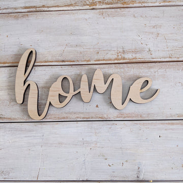 8 inch Home Phrase Wood Cutout _sola_wood_flowers
