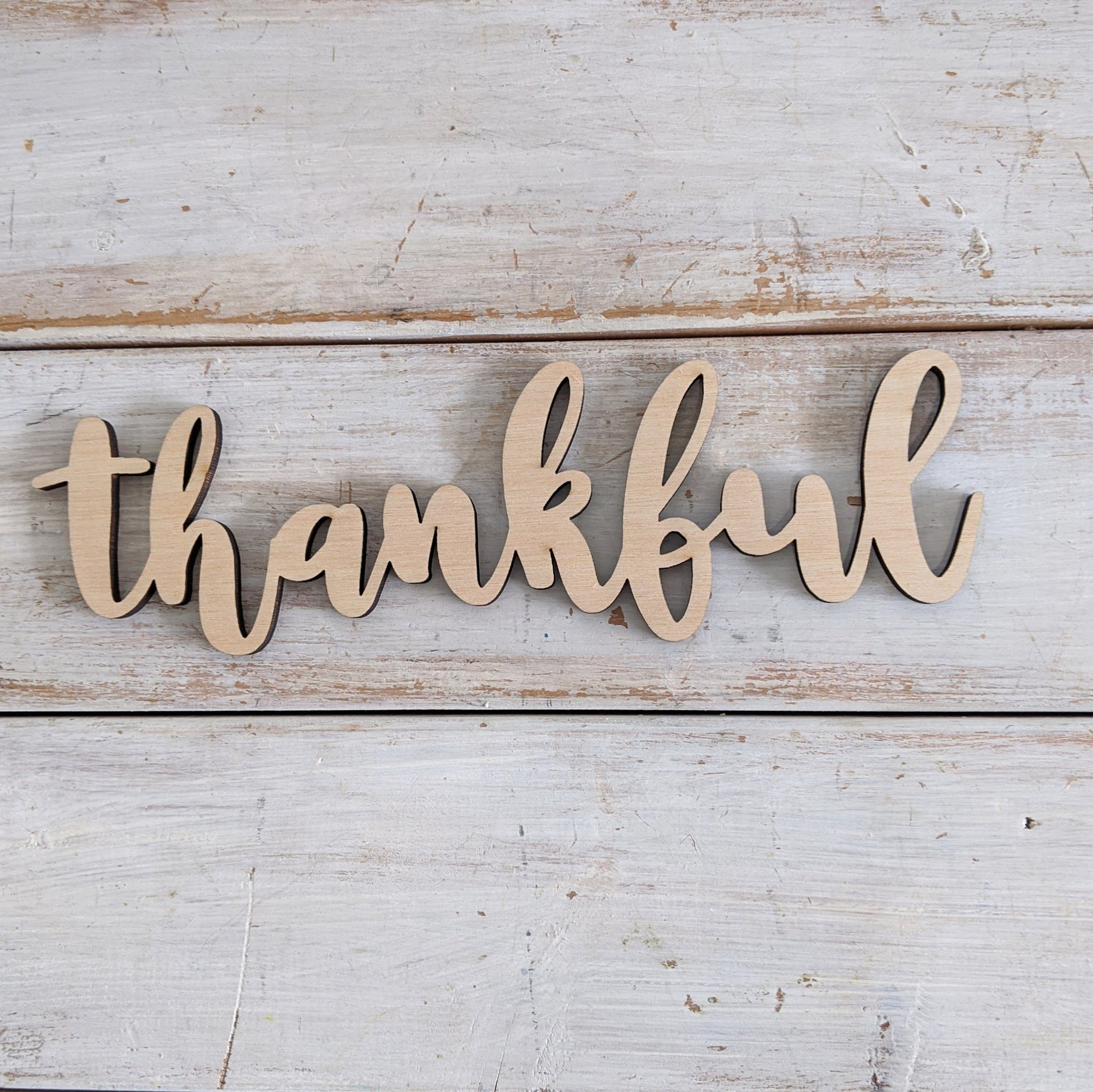 8 inch Thankful Phrase Wood Cutout _sola_wood_flowers