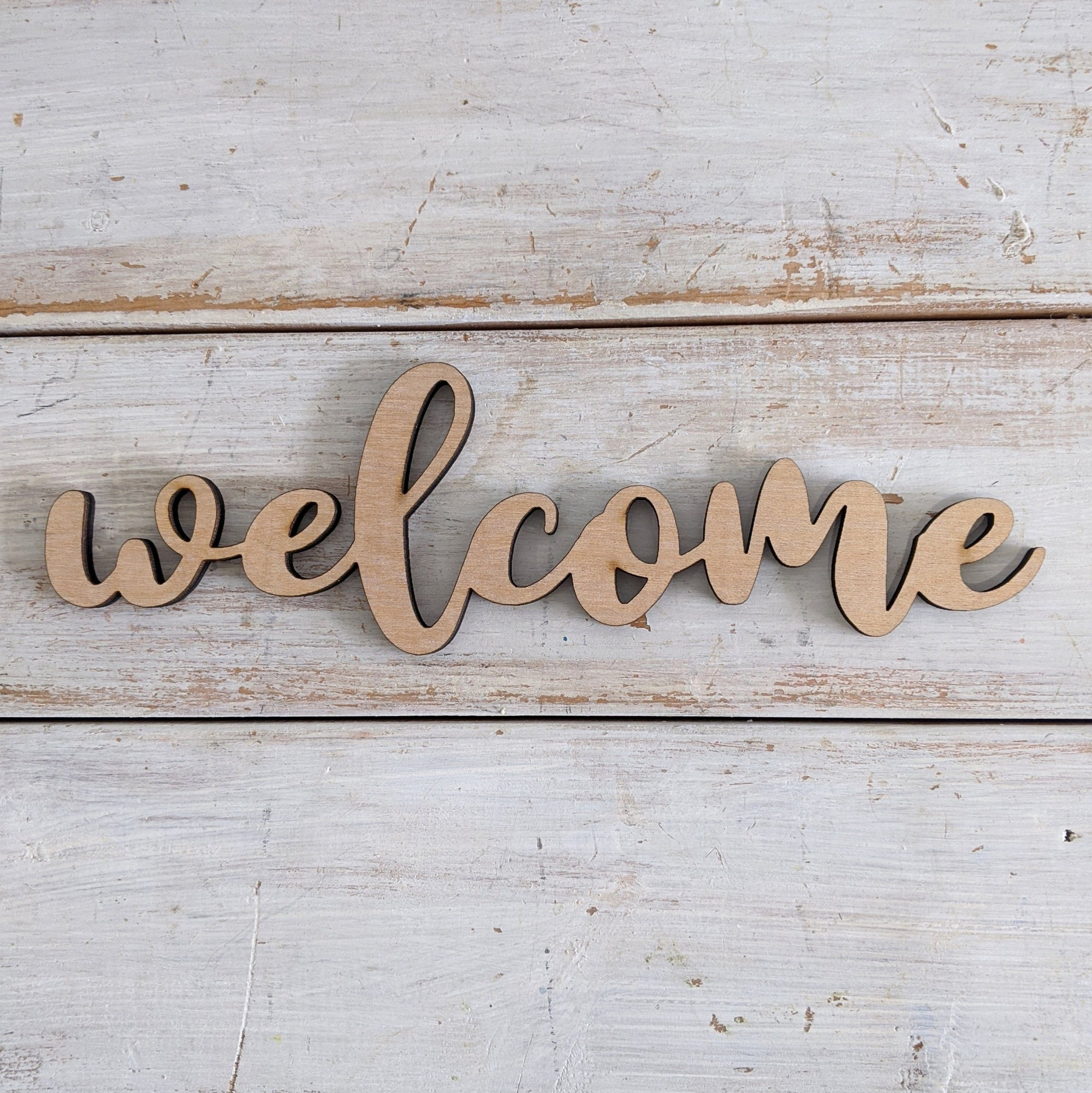 8 inch Welcome Phrase Wood Cutout _sola_wood_flowers
