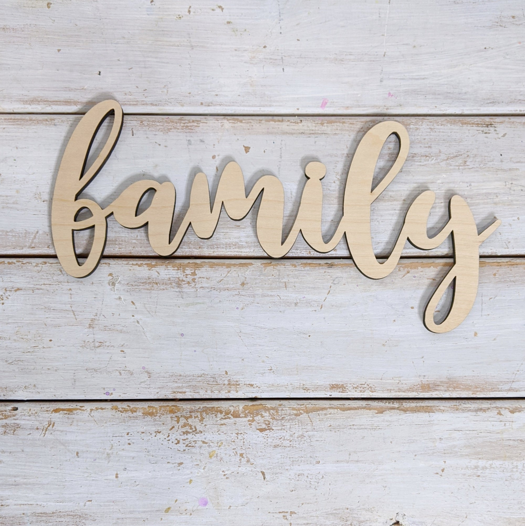 10 inch Family Phrase Wood Cutout _sola_wood_flowers