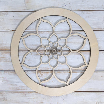 "14"" Circle Floral Wood Cutout _sola_wood_flowers"
