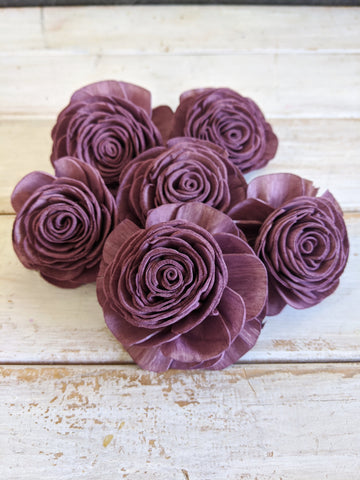 Pre-dyed American Beauty Flower - set of 6 - Purple Plum _sola_wood_flowers