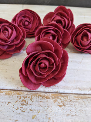 Pre-dyed Rosie - set of 6 - Deep Red _sola_wood_flowers