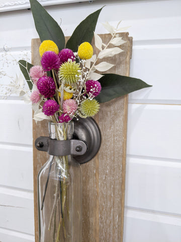 Wall hanging bottle vase - Craft Kit _sola_wood_flowers