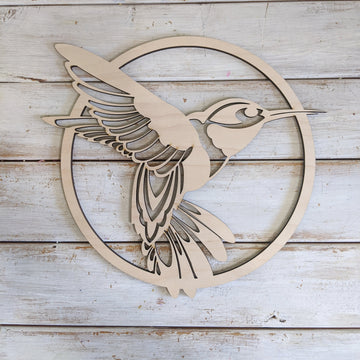 "10"" Circle Hummingbird Wood Cutout _sola_wood_flowers"