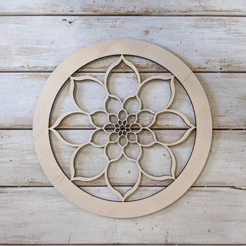 "10"" Circle Floral Wood Cutout _sola_wood_flowers"