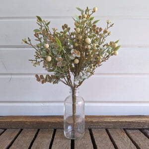 Mini Eucalyptus Cream Berry Greenery  - faux _sola_wood_flowers
