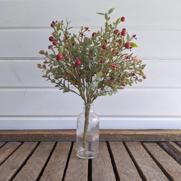 Mini Eucalyptus Red Berry Greenery  - faux _sola_wood_flowers