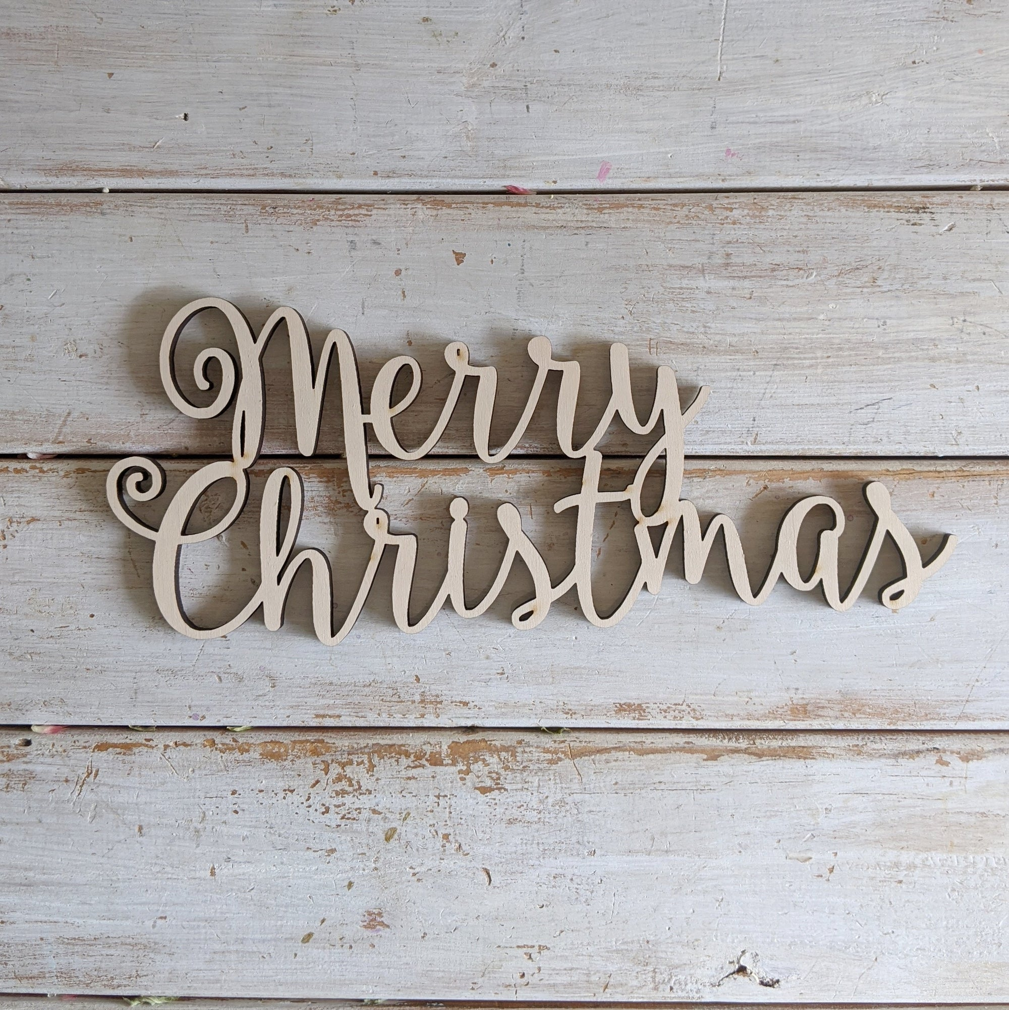 "10"" Merry Christmas Wood Sign _sola_wood_flowers"