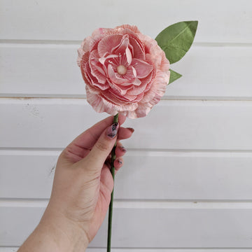 Camellia  - paper flower - single stem - light pink _sola_wood_flowers