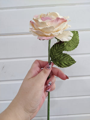 Cottage Rose  - paper flower - single stem - pink and white _sola_wood_flowers