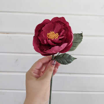 Tree Peony  - paper flower - single stem - burgundy _sola_wood_flowers