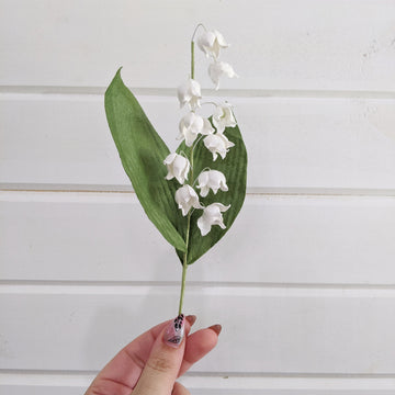 Lily of the Valley - paper flower - single stem - white _sola_wood_flowers