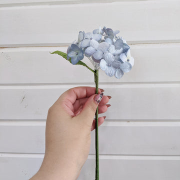 Small hydrangea bloom- paper flower - single stem - light blue _sola_wood_flowers