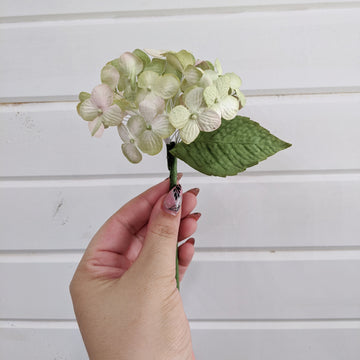 Small hydrangea bloom- paper flower - single stem - green and pink _sola_wood_flowers