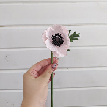 Anemone- paper flower - single stem - Light Pink _sola_wood_flowers
