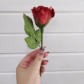 Medium Rose- paper flower - single stem - Red _sola_wood_flowers