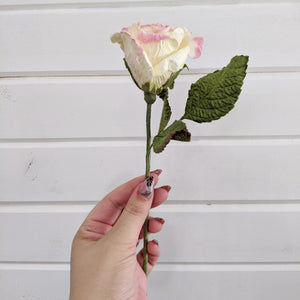 Medium Rose- paper flower - single stem - Pink and Yellow _sola_wood_flowers