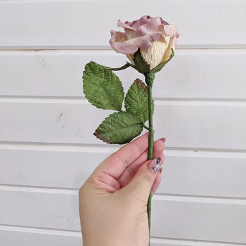 Medium Rose- paper flower - single stem - Purple and Cream _sola_wood_flowers