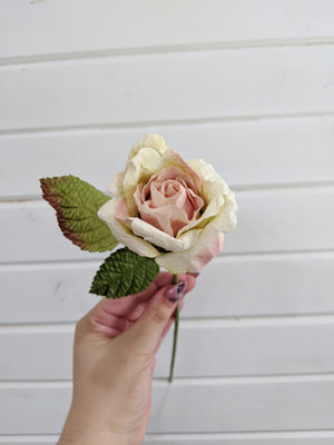 Medium Rose- paper flower - single stem - Pink and Green _sola_wood_flowers