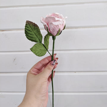 Medium Rose- paper flower - single stem - Light Pink _sola_wood_flowers