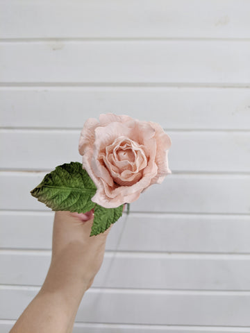 Medium Rose- paper flower - single stem - Blush Pink _sola_wood_flowers