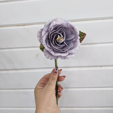 Cottage Rose  - paper flower - single stem - smoky plum _sola_wood_flowers