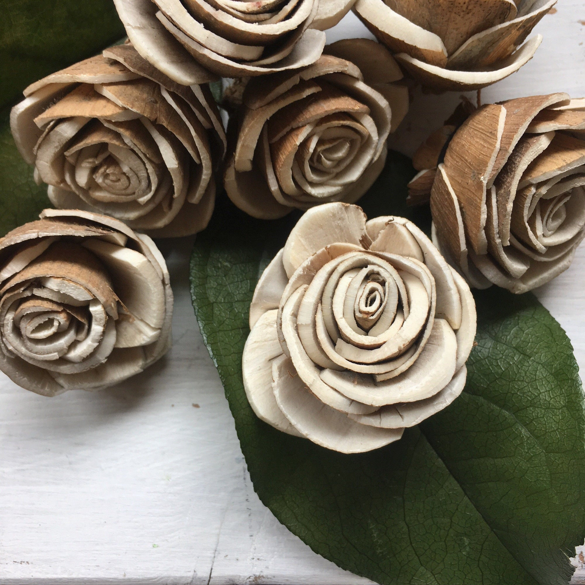 Bark Rose - 2 inches - sets by the dozen _sola_wood_flowers