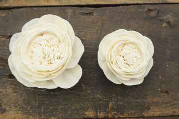 Cabbage Rose  - set of 12-  2.5 inches _sola_wood_flowers
