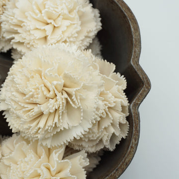 Carnation Flower - set of 12-  2.5 inches _sola_wood_flowers