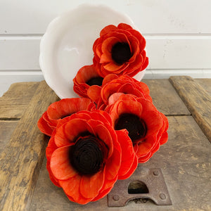 Dyed Poppy - set of 6 _sola_wood_flowers