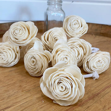 Small American Beauty - with wick - set of 6 _sola_wood_flowers