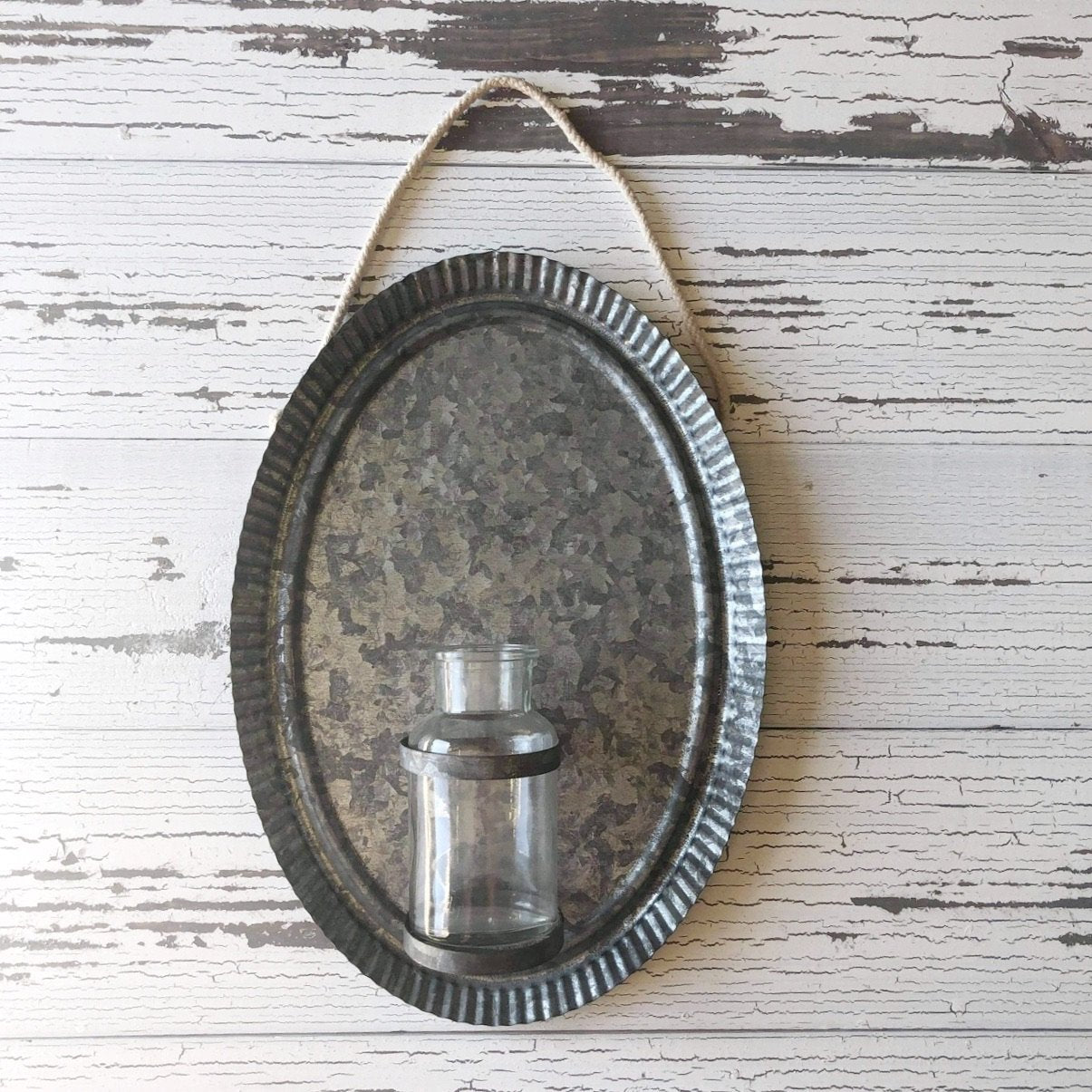 Hanging Metal Wall Tin with Bottle- Home Decor _sola_wood_flowers