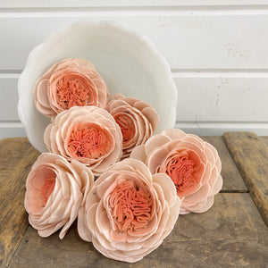 Dyed Cabbage Rose - set of 6 _sola_wood_flowers