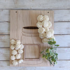 Mama's Jar™ wood picture frame - Craft Kit _sola_wood_flowers