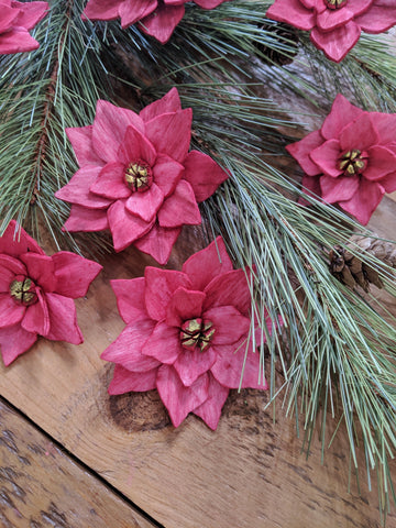 Poinsettia - set of 12 - multiple sizes available _sola_wood_flowers