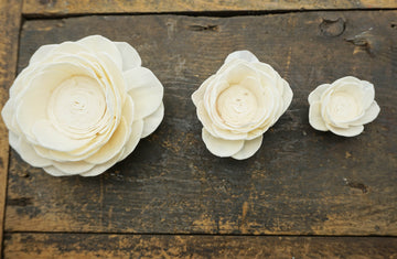 Poppy - set of 12 - 2 inches _sola_wood_flowers
