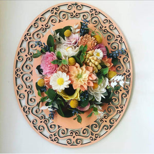 "16"" Decorative Oval Wood Cutout _sola_wood_flowers"