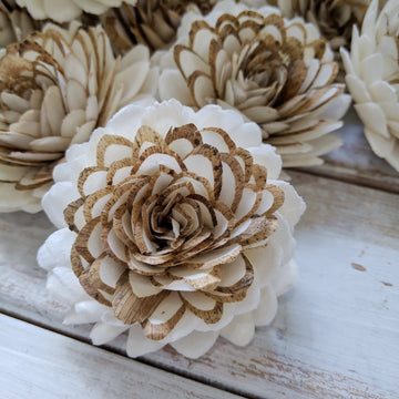 Vanilla Chai™- set of 12- 2.5 inches _sola_wood_flowers