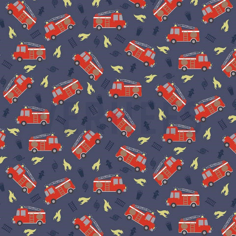 Fire Engine Glow in the dark Blue Jersey PRE ORDER - Kailuna Fabrics Uk Jersey Fabric