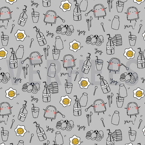 Grey Breakfast Jersey PRE ORDER - Kailuna Fabrics Uk Jersey Fabric