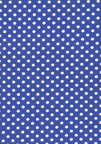 Blue and White Polka Dots Jersey - Kailuna Fabrics Uk Jersey Fabric