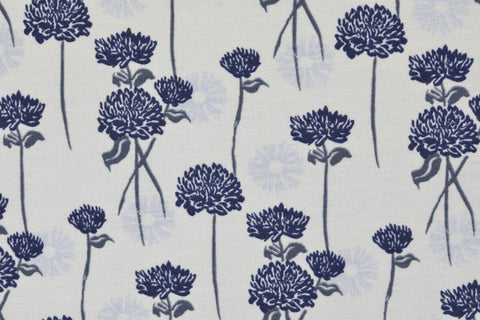 Blue Flowers French Terry - Kailuna Fabrics Uk Jersey Fabric
