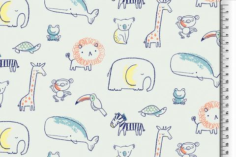 Drawing Zoo French Terry PRE ORDER - Kailuna Fabrics Uk Jersey Fabric