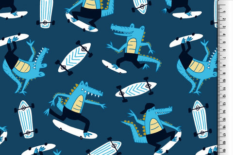 Blue Crocodiles - Kailuna Fabrics Uk Jersey Fabric