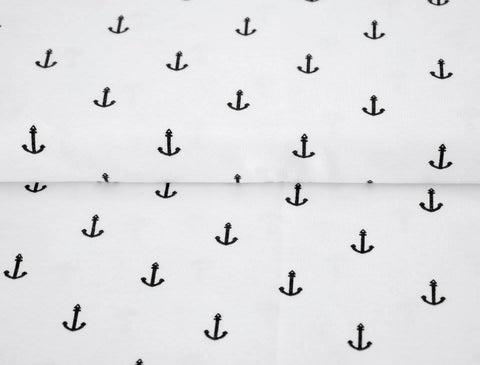 Black Anchors on White Jersey - Kailuna Fabrics Uk Jersey Fabric